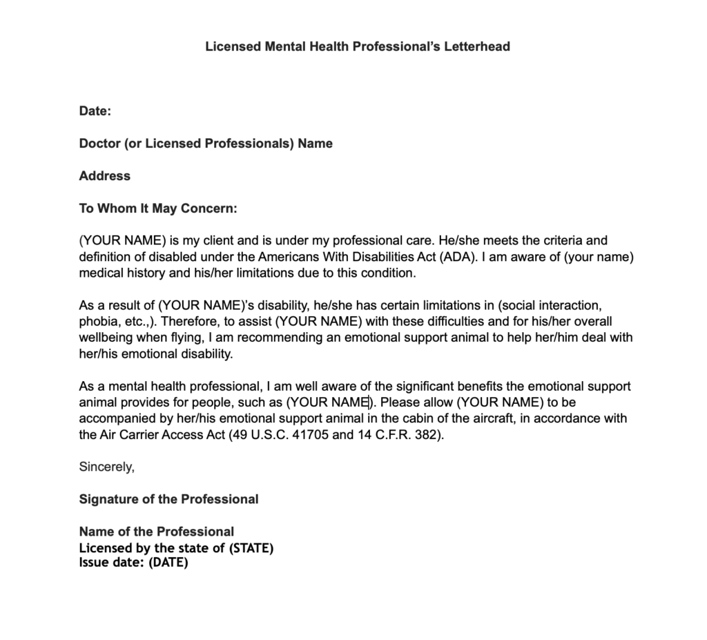 ESA sample letter example